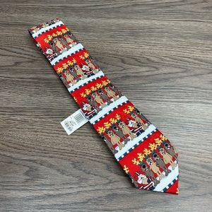 John Ashford NWT Santa Reindeer Football Tie